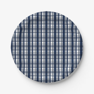 Dallas Sports Fan Silver Navy Blue Plaid Striped Paper Plate