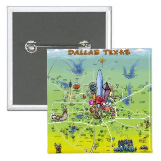 Dallas Texas Cartoon Map Pins