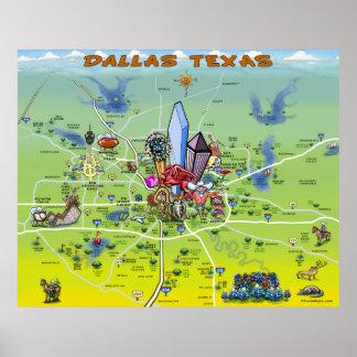 Dallas Texas Cartoon Map Poster