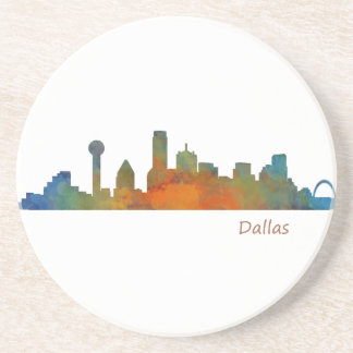 Dallas Texas City Watercolor Skyline Hq v1 Coaster