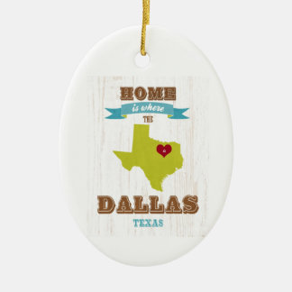 Dallas, Texas Map – Home Is Where The Heart Is Christmas Tree Ornament