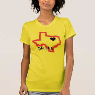 Dallas Texas neon pink outline ladies tee