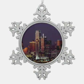 Dallas, Texas night skyline Pewter Snowflake Decoration