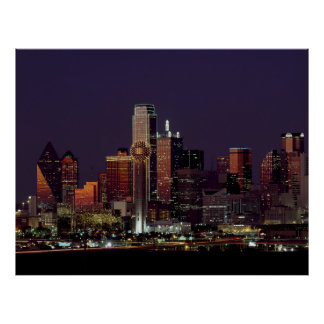 Dallas, Texas night skyline Print