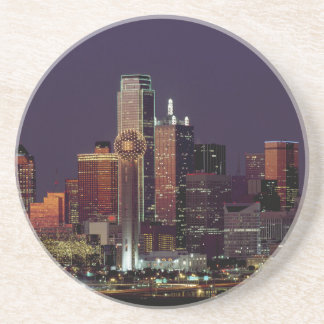 Dallas, Texas night skyline Sandstone Coaster