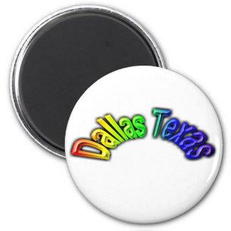 Dallas Texas Popular Rainbow Design 6 Cm Round Magnet
