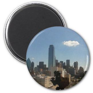 Dallas Texas Skyline 6 Cm Round Magnet