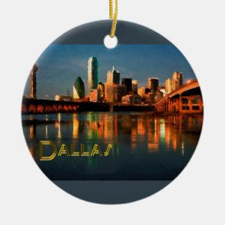 Dallas Texas Skyline at Dusk Ceramic Ornament