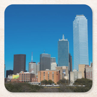 Dallas Texas skyline at sunset Square Paper Coaster