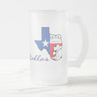 Dallas, Texas State Map with Star, Boots, Hat Mug