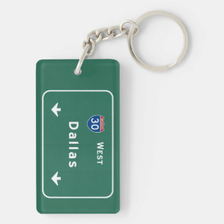 Dallas Texas tx Interstate Highway Freeway Road : Double-Sided Rectangular Acrylic Key Ring