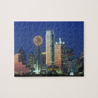 'Dallas, TX skyline at night with Reunion Tower' Jigsaw Puzzle
