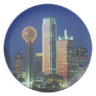 'Dallas, TX skyline at night with Reunion Tower' Plate