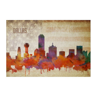 Dallas, TX | Watercolor City Skyline Acrylic Print