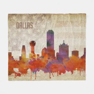 Dallas, TX | Watercolor City Skyline Fleece Blanket