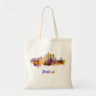 Dallas V2 skyline in watercolor Tote Bag