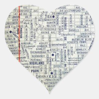 Dallas Vintage Map Heart Sticker