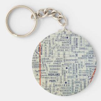 Dallas Vintage Map Key Ring