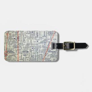 Dallas Vintage Map Luggage Tag