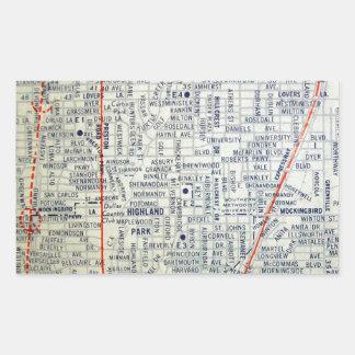 Dallas Vintage Map Rectangular Sticker