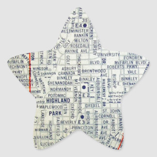 Dallas Vintage Map Star Sticker