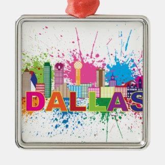 Dalles Texas Skyline Paint Splatter Illustration Silver-Colored Square Decoration
