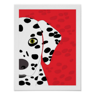 Dalmatian | Abstract Dog Art | Red, Black & White Poster