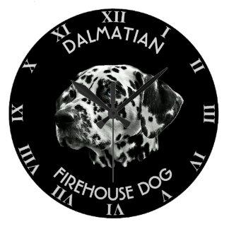 Dalmatian Black And White Firehouse Dog Large Clock