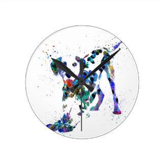 Dalmatian, Dalmatian dog, watercolor Dalmatian Round Clock