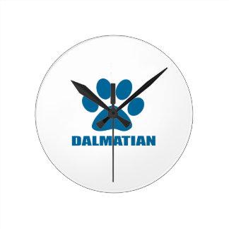 DALMATIAN DOG DESIGNS ROUND CLOCK