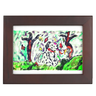 Dalmatian fall art keepsake box