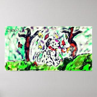 Dalmatian fall art poster