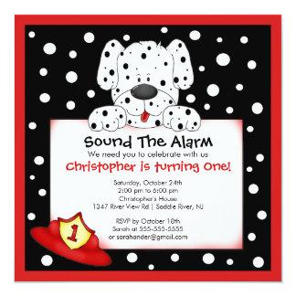 Dalmatian Fireman Birthday Party 13 Cm X 13 Cm Square Invitation Card