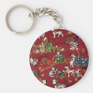 Dalmatian Holiday Print Keychain