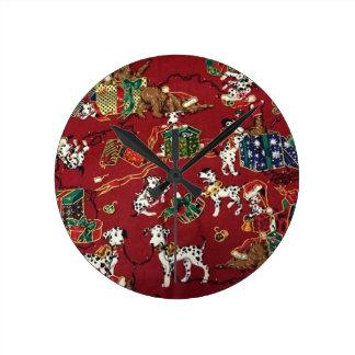 Dalmatian Holiday Print Round Clock