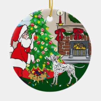 Dalmatian Merry Christmas Ceramic Ornament