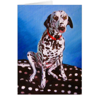 Dalmatian on spotty cushion 2011 card