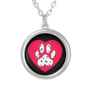 Dalmatian Paw Print In Red Heart Silver Plated Necklace
