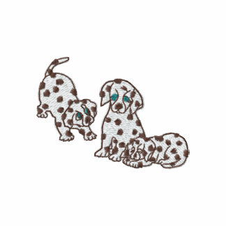 Dalmatian Puppies Embroidered Zip Hoodie