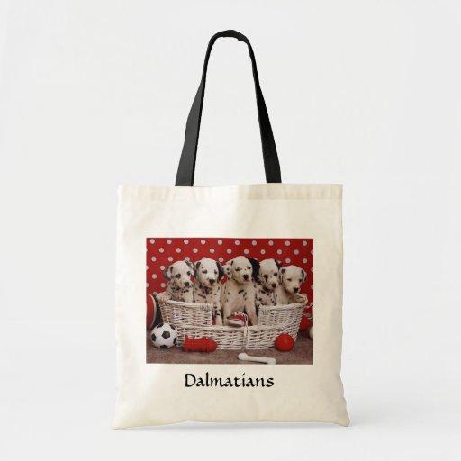 Dalmatian Puppies in a Basket Budget Tote Bag