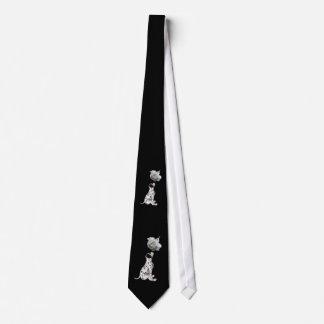 Dalmatian Puppy And White Rose Necktie