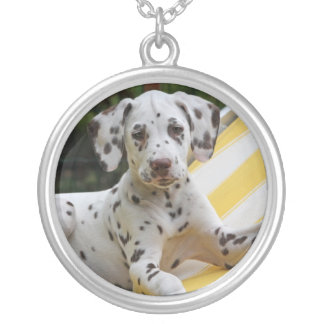 Dalmatian puppy dog necklace, gift idea round pendant necklace