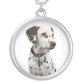 Dalmatian puppy dog necklace, gift idea silver plated necklace