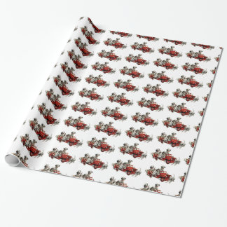 Dalmatian Pups with a Toy Fire Truck Wrapping Paper