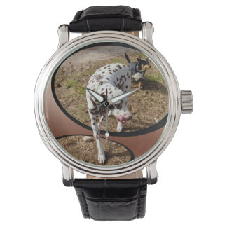 Dalmatian_Window_Art_Mens_Leather_Vintage_Watch Watch