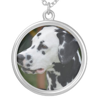 Dalmatian with Spots Round Pendant Necklace