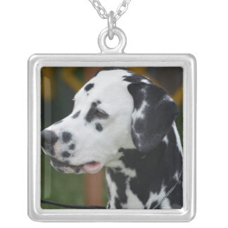 Dalmatian with Spots Square Pendant Necklace