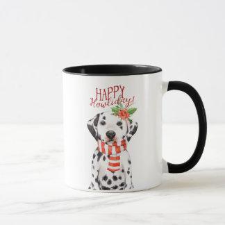 dalmation dog christmas mug happy howliday