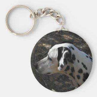 Dalmation Dog Portriate Basic Round Button Key Ring
