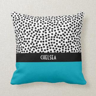Dalmation Dots with Monogram Colorblock Aqua Throw Pillow
